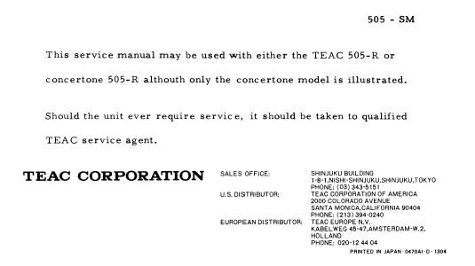 Teac 505 Service Manual, Analog Alley Manuals