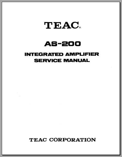 Teac AS-200 Service Manual, Analog Alley Manuals