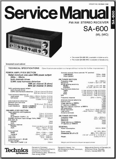 Technics SA-600 Service Manual, Analog Alley Manuals