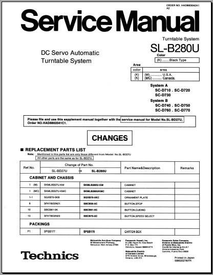 Technics SL-B280U Service Manual, Analog Alley Manuals
