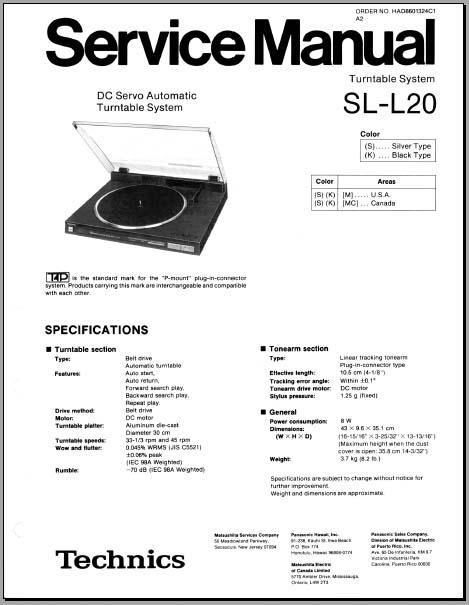 Technics SL-L20 Service Manual, Analog Alley Manuals