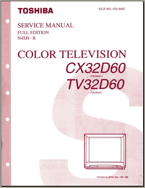 Toshiba Cx32d60  Tv32d60  Analog Alley Manuals