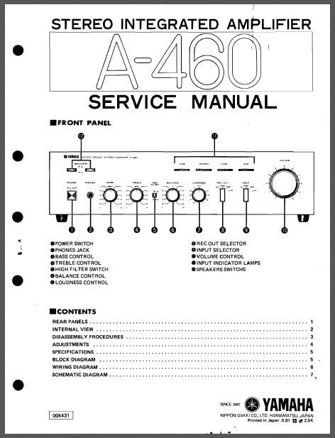yamaha a 460 service manual analog alley manuals. Black Bedroom Furniture Sets. Home Design Ideas