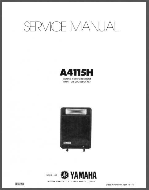 yamaha a 4115h service manual  analog alley manuals