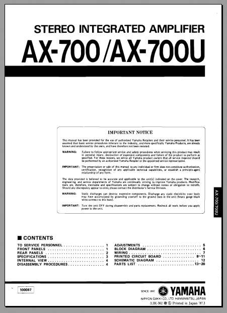 yamaha_ax 700_700u wiring diagram concertone radio wiki share
