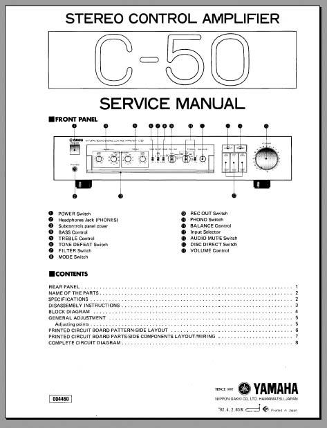 yamaha c 50 stereo control amplifier service manual. Black Bedroom Furniture Sets. Home Design Ideas