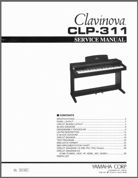yamaha clavinova clp 311 service manual analog alley manuals