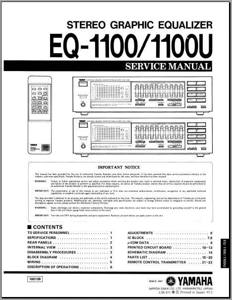 yamaha eq u service manual   pdf  analog alley manuals