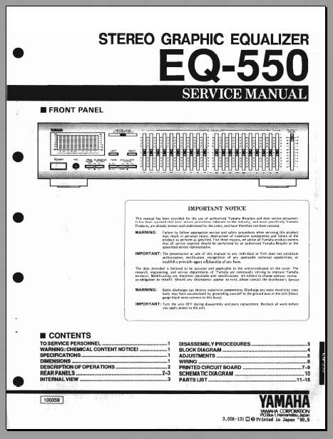 Yamaha EQ-550 Service Manual, Analog Alley Manuals
