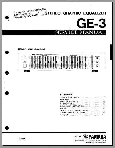 yamaha ge 3 service manual analog alley manuals. Black Bedroom Furniture Sets. Home Design Ideas
