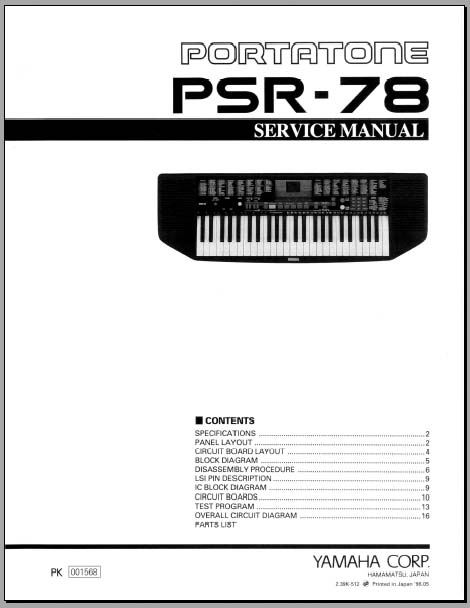 Yamaha psr E403 service manual
