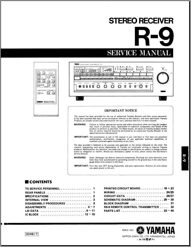 yamaha r9 r 9 service manual analog alley manuals. Black Bedroom Furniture Sets. Home Design Ideas