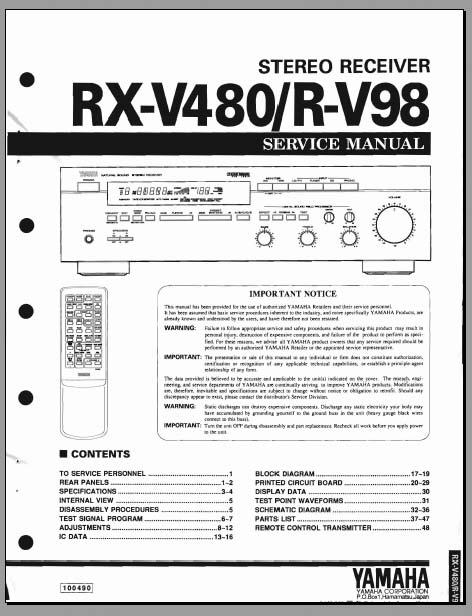 yamaha rx v480 r v98 service manual analog alley manuals. Black Bedroom Furniture Sets. Home Design Ideas