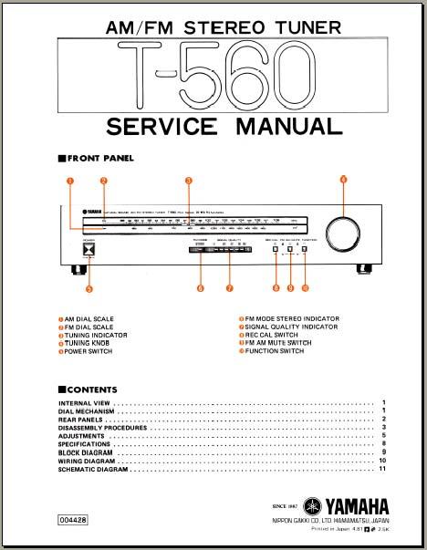 yamaha t 560 service manual analog alley manuals. Black Bedroom Furniture Sets. Home Design Ideas