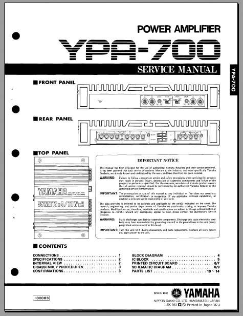 Yamaha YPA-700 Service Manual, Analog Alley Manuals